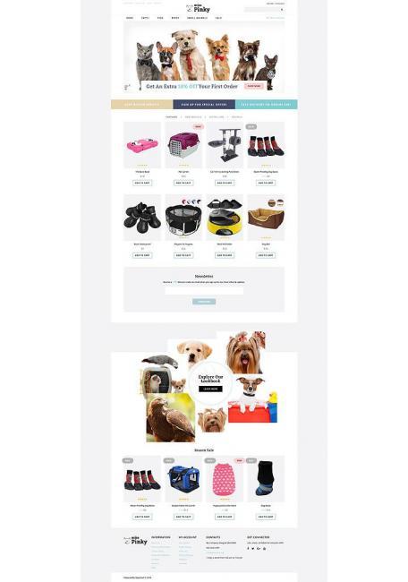 Miss Pinky. Plantilla para tienda de mascotas y animales de OpenCart